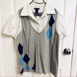 *NWT* 2/$15 or 3/$20- button down shirt with vest